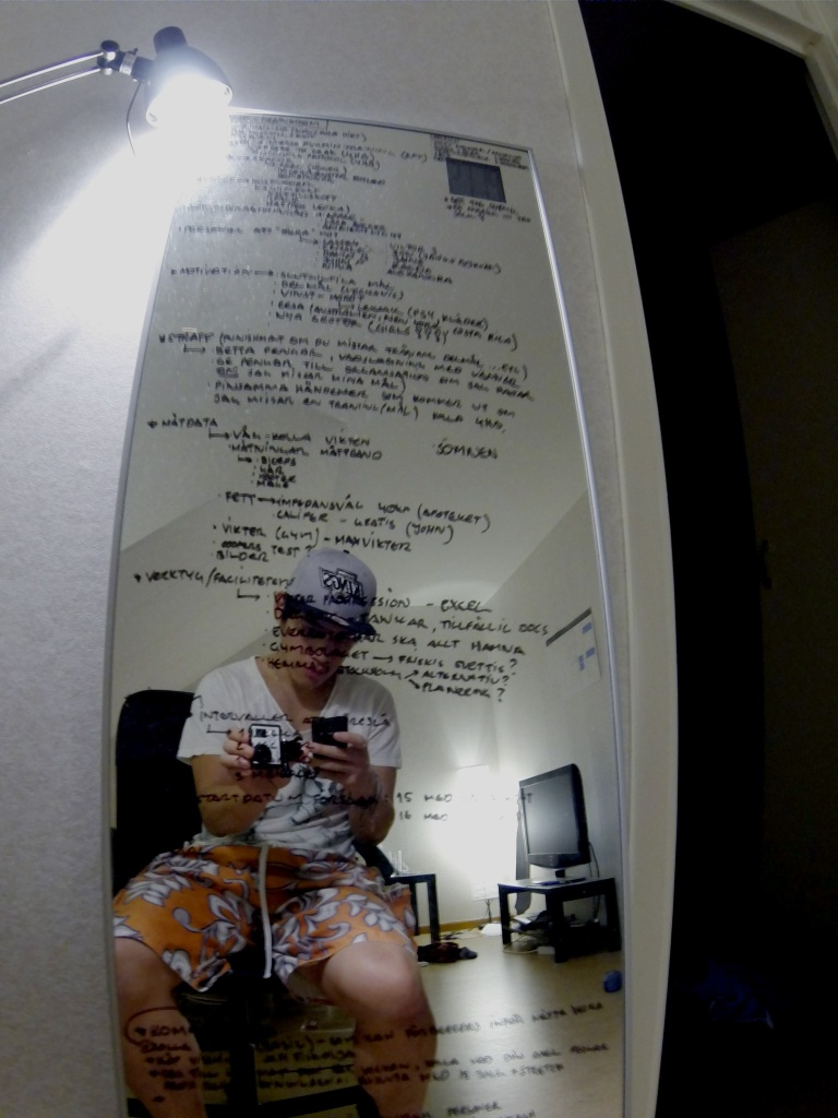 "The original game plan, I love to write on my mirror, it functions as a giant ""post-it"" reminder."