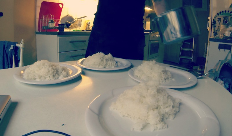Four plates of rice, for two men. Leangains, baby, I'll write about it on my next post.
