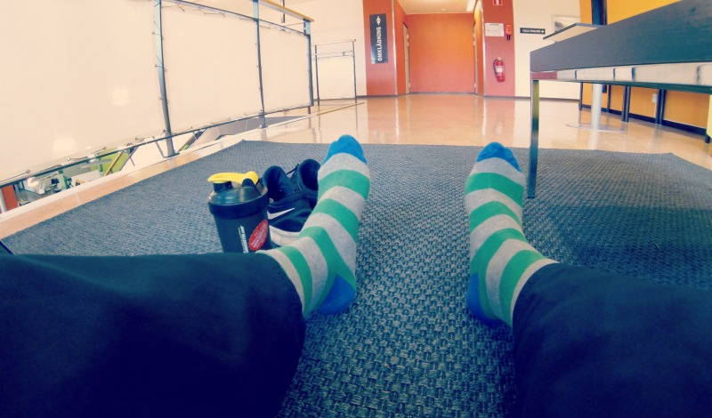 Working out like a sir! Had laundry day so I only had these clown socks.